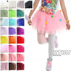 8 Tiered Pom Pom Ball Candy Star Tutu Puffy Fairy Ballerina Mesh Net Tulle Skirt