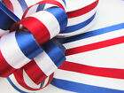 "5 / 50 yards Patriotic Stripe Satin Ribbon Red/White/Navy R62-USA 7/8"" or 1.5"""