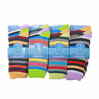 L031 LADIES 12prs FUNKY RETRO MULTI STRIPE EVERYDAY WEAR COTTON BLEND SOCKS SOX