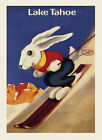 Rabbit Ski Skiing Mountains Lake Tahoe California Vintage Poster Repro FREE S/H
