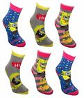 *ref111 reduced see notes Sbob Squarepants Girl's 6 pack Non Skid Slipper Socks