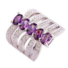 Free Shipping Oval Cut Amethyst Gemstone Silver Ring Size 6 7 8 9 Vintage Style