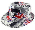 Men's Union Jack Flag GB Newspaper Print Trilby Fedora Hat White