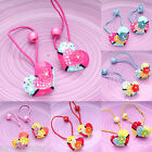 Pair Of Girl Kid Childrens Lovey Heart Hair Ponies Elastic Bobbles Accessories