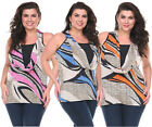 WOMEN PLUS SIZE SLEEVELESS STRETCH CASUAL HALTER NECKLINE BLOUSE TOP TUNIC SHIRT
