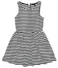Girl's Sleeveless Black & White Mono Stripe Textured Summer Dress 8 - 16 Yrs NEW