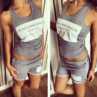 Womens 2 Pcs Casual Tracksuit Suit Vest Tank Tops + Gym Sexy Shorts Sports Wear