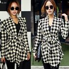 British Fashion Houndstooth Women's Cardigan Knitwear Knit Top Wrap Cape Shirt