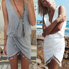 New Sexy Summer Boho Women V Neck Cross Tassles Skirt Cocktail Club Mini Dress
