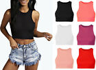 Ladies Ponte High Neck Racer Crop Womens Sleeveless Plain Vest Top 8-14