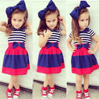 3Pcs Cute Baby Kid Girl Outfits Short Sleeve Top T-shirt+Stripe Skirt +Headband