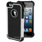 For iPhone 4 4S Shockproof Rugged Hybrid Rubber Hard Phone Back Cover Case Skin