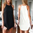 Women's Spaghetti Strap Basic Vest Dress Casual Long Tops Cami Beach Party Dress