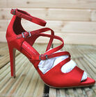 Karen Millen FN150 Coral Strappy Satin Stiletto Peep Dress Sandals Shoes 3 - 5