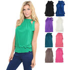 Women Ladies Pleated Coloured Halter Neck Ruched Sexy Top Blouse Hot Party Size