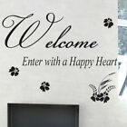 "Sticker mural de citation ""Welcome, enter with a happy heart"""
