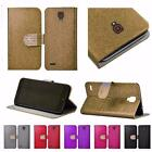 For Alcatel OneTouch Conquest 7046T Shiny Leather Bling Flip Wallet Cover Case