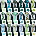 USA Classic GREEN Mens Tie Silk Necktie set Jacquard Woven Wedding Business F&S