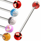 Painted ball industrial bar piercing barbell jewellery 9IBT-CHOOSE LENGTH&DESIGN