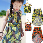Kids Baby Girl Summer Flower 2PCS Clothes Outfits Tops Shirt+ Skirt 2-8 Years
