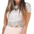 Fashion Womens White Short Sleeve Lace Hollow Out Floral Slim Fit Top Blouse S-L