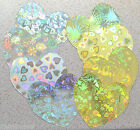 """20 Large Heart Cutouts 4"""" x 4"""" Holographic Patterne Gold and/or Silver Card NEW"""