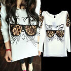 Plus Size 8-20 Women Long sleeve Loose Casual T shirt Tops Blouse Print Animal