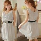 Fashion Kawaii Cute Sweet Lolita Princess Slim Chiffon Sleeveless Dress+Belt