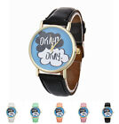 English Letters Pattern Women's Analog Quartz Dial Leather Fashion Wrist Watch
