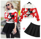 new lady woman floral sweater + skirt leisure suits sets 2 pieces S M L XL