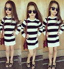 Kids Baby Girls Dress Black&White Striped Party Gown Formal Dresses 2-7Years US