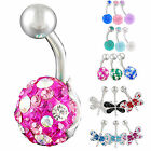 1P swarovski belly navel ring button bar piercing kit 9IBQ-CHOOSE STYLE&COLOUR