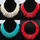 Howlite Turquoise Graduated Stick Spike Choker Beads Necklace 17 Inches SBH026