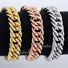 15MM Mens Chain Boy Double Curb Link Rose/Yellow/White Gold Filled GF Bracelet