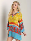 New dress women geometric multi-color V-neck Long-Sleeve Loose Casual dress