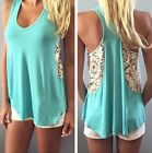 Sexy Fashion Women Summer Vest Short Sleeve Blouse Casual Tank Top T-Shirt Lace