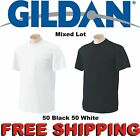 50 T-SHIRTS Blank 25 Black 25 White S-XL Wholesale Lot