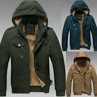 PODOM Mens Winter Faux Fur Lining Hooded Bomber Trench Coat Parka Jacket Outwear