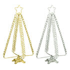METAL CHRISTMAS TREE CARDHOLDER / STANDING DISPLAY - HOLD 80 CARDS - GOLD/SILVER