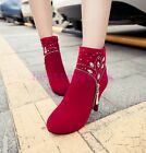 New Fashion Womens Elegant Faux Suede Rhinestones Pumps High Heels Ankle Boots