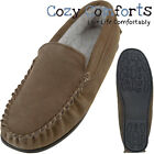 Mens Genuine Suede Moccasins with Berber Fleece Lining in Taupe, Sizes 6 - 12 UK