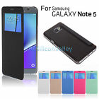 Flip Folio PU Leather Window View Case Cover For Samsung Galaxy Note 5 S6 Edge+