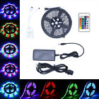 5m Rgb 5050/3528 Led Strip Light Smd Flexible 24key Remote 12v Power Kit Plug In