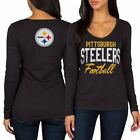 Pittsburgh Steelers Women's Black Direct Snap V-Neck Long Sleeve T-Shirt