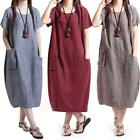 Casual Women Cotton Linen Short Sleeve Dress Lady Loose Solid Dress M-XXL F38