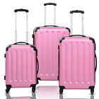GLOBALWAY 3 Pcs Luggage Travel Set Bag ABS+PC Trolley Suitcase Pink