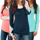 Fashion Womens Long Sleeve Lace Tops O Neck Summer Casual Shirt Blouse