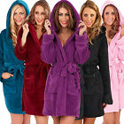 Ladies Womens Coral Fleece Bath Robe Hood Dressing Gown Wrap Housecoat Warm