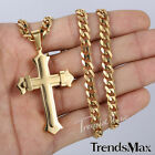 Mens Chain 2 Layer Cross Curb Stainless Steel PENDANT NECKLACE Silver Black Gold