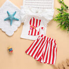 Toddler Baby Kids Girls Cat Tops T-Shirt+Stripe Shorts Summer Dress Outfits Sets